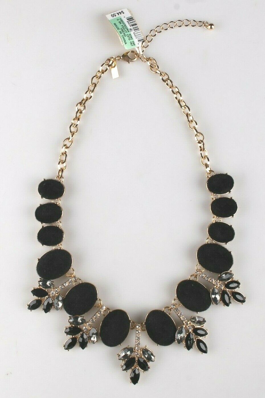 I.N.C. Gold-Tone Faux Velvet-Covered Multi-Stone Crystal Statement Necklace 18