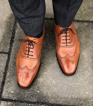Handmade Men's Tan Wing Tip Brogues Lace Up Oxford Leather Shoes image 3