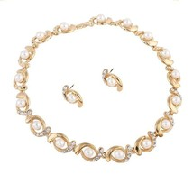 Women Necklace Earrings Sets Fashion Crystal Pearl Rhinestone Jewelry Ac... - $14.95