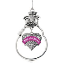 Inspired Silver Magenta Mom of Groom Pave Heart Snowman Holiday Decoration Chris - $14.69