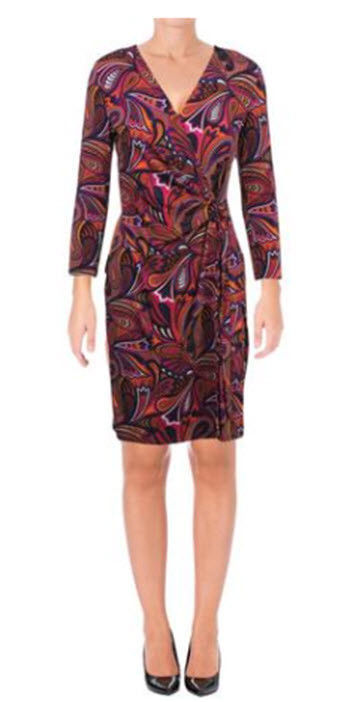 Primary image for ANNE KLEIN  Womens Printed Faux Wrap Wear to Work Dress