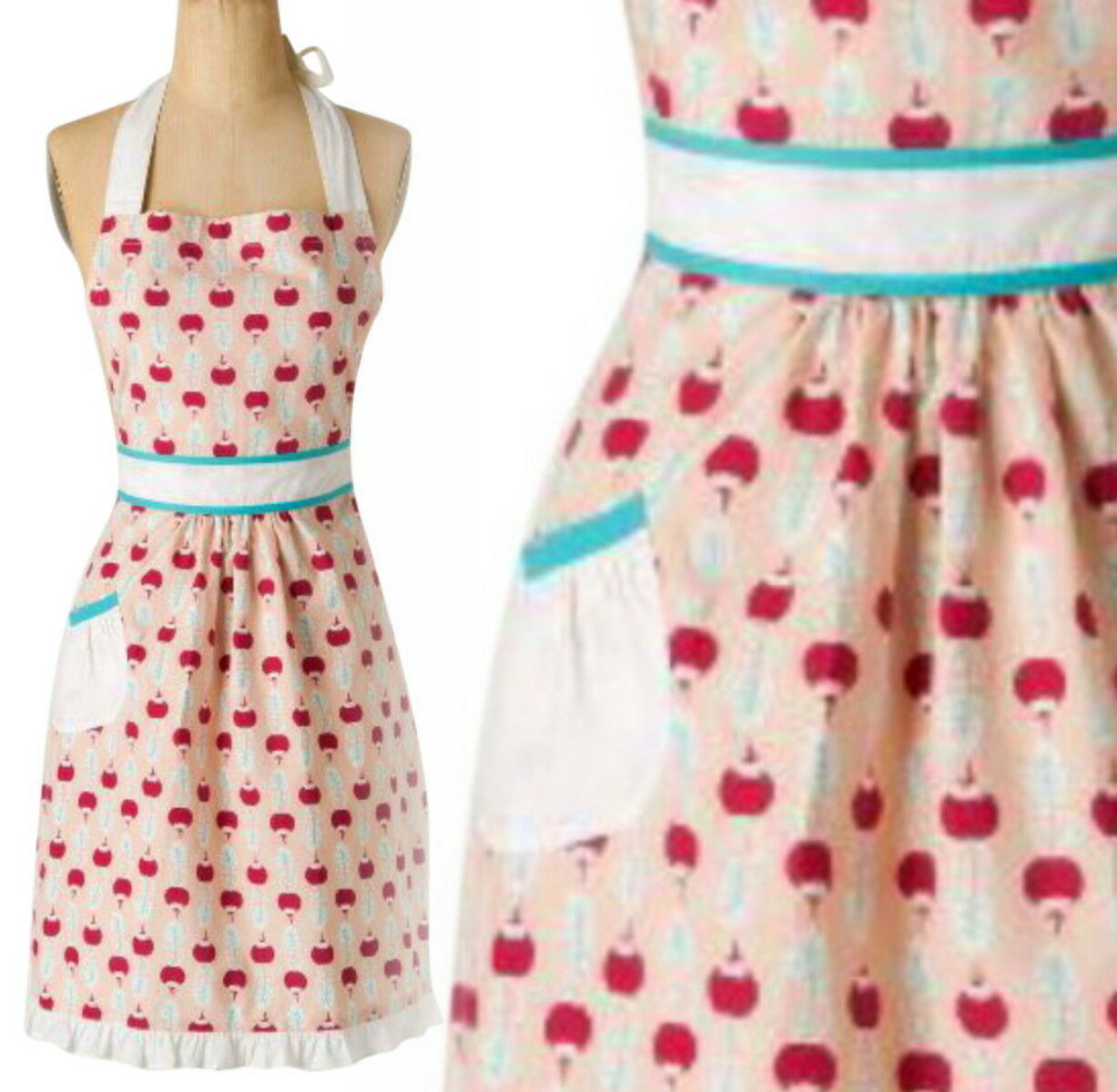 Primary image for Anthropologie Ripened Radish Apron Red Print Hostess Mothers Wedding Gift NWT