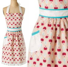 Anthropologie Ripened Radish Apron Red Print Hostess Mothers Wedding Gif... - $42.45 CAD
