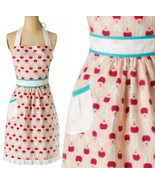 Anthropologie Ripened Radish Apron Red Print Hostess Mothers Wedding Gif... - €33,88 EUR