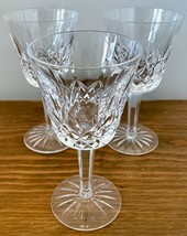 """Waterford Lismore Set of 3 Cut Crystal 6 oz Clear Claret Wine Glasses 5 ⅞"""" - $74.79"""