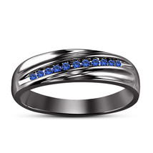 Blue Sapphire Mens Anniversary Ring 14k Black Gold Fn 925 Sterling Pure ... - £67.11 GBP