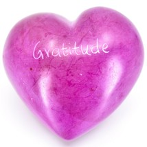 """Vaneal Group Hand Carved Soapstone 2-Sided """"Gratitude"""" Fuchsia Heart Paperweight image 2"""