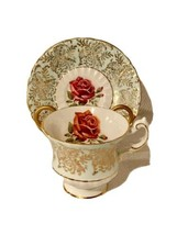 Paragon Teacup Tea cup And Saucer Mint Red Cabbage Rose Gold Filigree - $88.11