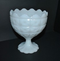 Vintage Napco Milk Glass Compote Bowl in Button... - $23.36