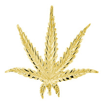 33mm Marijuana Pot Leaf Plant Charm in 18K Yellow Gold - $808.50