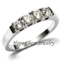 HCJ WOMEN'S STAINLESS STEEL 4 STONE CZ ANNIVERSARY WEDDING BAND RING SIZ... - $12.59