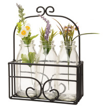 MILK BOTTLE DECOR BASKET - Scrolled Wrought Iron Display Stand Holder Am... - $39.57