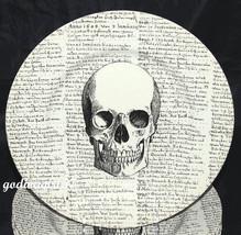 Royal Stafford * 8 DINNER PLATES * Halloween, Goth, Skull With Script, NEW - $99.99