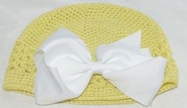 Unbranded Infant Toddler Hat Stretch Removable Bow Yellow White image 4