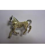 Vintage silver tone pin brooch prancing horse red eyes clear rhinestones   - $22.00