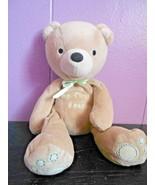 Carters Just One Year My First Bear Green Tan Light Brown Plush Stuffed ... - $28.69