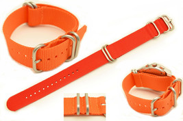 20mm HEAVY DUTY watch band Strap  For LUMINOX Watches orange Nylon 4 Rings  - $15.95