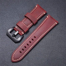 High Quality Vintage Crazy Horse Genuine Leather Watchband Red Blue Brow... - $29.05