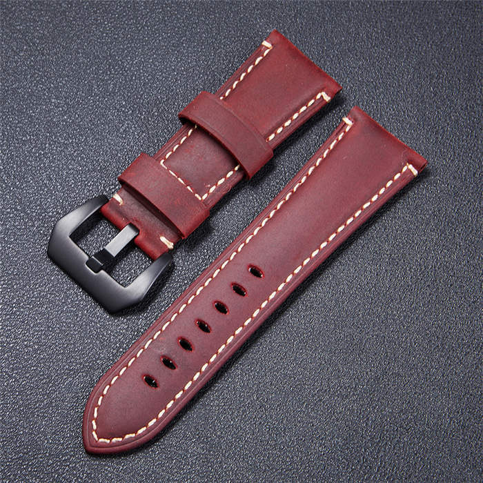 High Quality Vintage Crazy Horse Genuine Leather Watchband Red Blue Brown Watch
