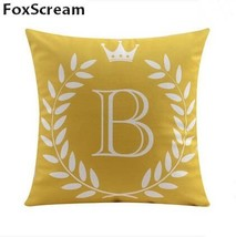 Velvet Cushion Covers Gray Decorative Pillows Cases Letter Cushion Cover... - £16.05 GBP