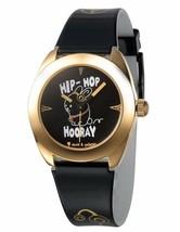 David & Goliath Hip Hop Hooray Negro y Dorado Reloj DGW02HOP Nib
