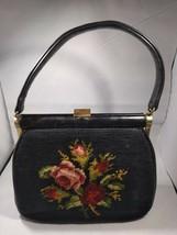 Vintage Needlepoint Floral Tapestry Purse Bakelite Leather Handle JR Flo... - $6.29