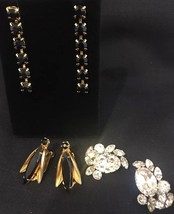 Three Pairs Vintage Rhinestone Earrings - Gorgeous - Excellent! - $14.23