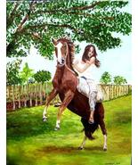 Girl And Rearing Horse Matted Art Print - 5 in x 7 in Design - 8 in x 10... - $6.99
