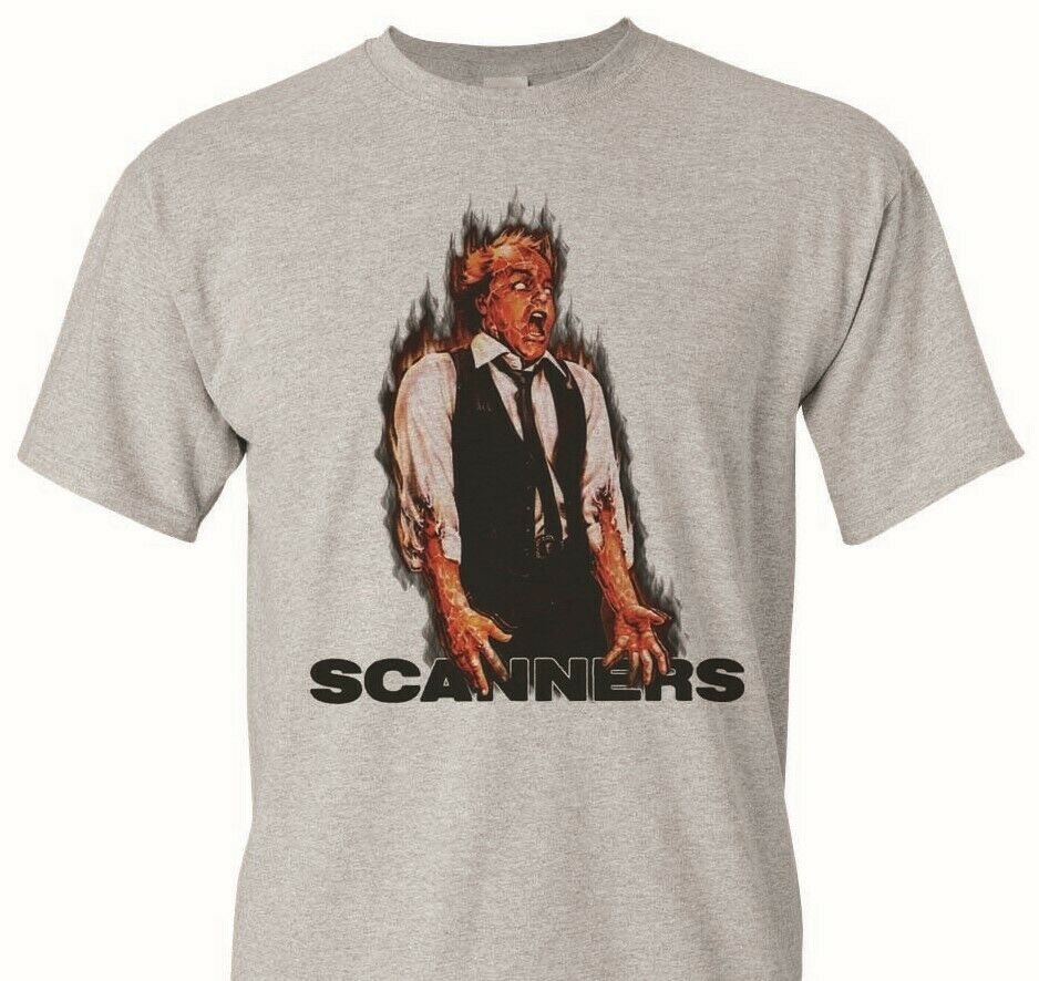 Scanners T-shirt retro horror 80's slasher movie 100% cotton graphic tan tee