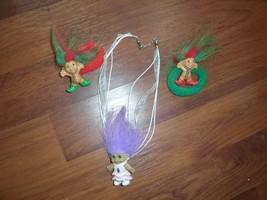 2 TROLL ponytail Bands HAIR SCRUNCHIES Red Green, + purple troll ribbon ... - $7.99