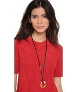 Michael Kors MKJ2918 Goldtone Curb Link Pendant Black Leather Necklace B... - $79.75