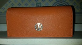 Luxe Tory Burch Bright Orange / Gold Logo Eye-Glasses Case - $15.99
