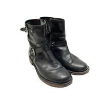 UGG Fabrizia Leather Motorcycle Ankle Boots Sz 8.5 Black  Zip Adjustable Strap - $60.78
