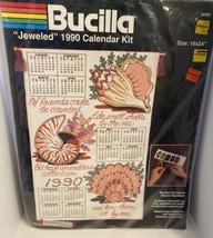 """Bucilla """"Jeweled"""" 1990 Calendar Kit - Friends of the Sea #82587 - 16"""" x 24"""" - $10.95"""