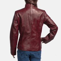 Designer Ladies Brown Leather Motorcycle Jacket-LD-09 image 2