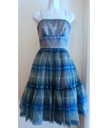 Helena Barbieri  Designer Blue Print Special Occasion Dress Small - $321.75
