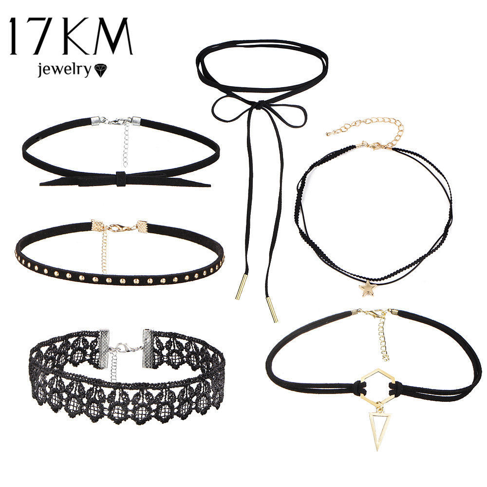 Primary image for 17KM® 5-8 pcs/set Stretch Tattoo Choker Velvet Necklace Punk Retro Collares Set