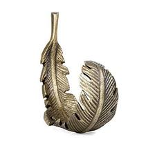 Koyal Wholesale Antique Brass Feather Wall Hooks, Set of 2, 5.25-inches, Hardwar image 4