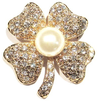 Primary image for Clover Pin Brooch Four Leaf Clear Crystal Faux Pearl Irish Luck Goldtone Metal