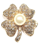 Clover Pin Brooch Four Leaf Clear Crystal Faux Pearl Irish Luck Goldtone... - $24.99