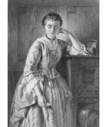 LOVELY MAIDEN Contemplation Triumph of Love - 1860s Engraving Print - $12.15