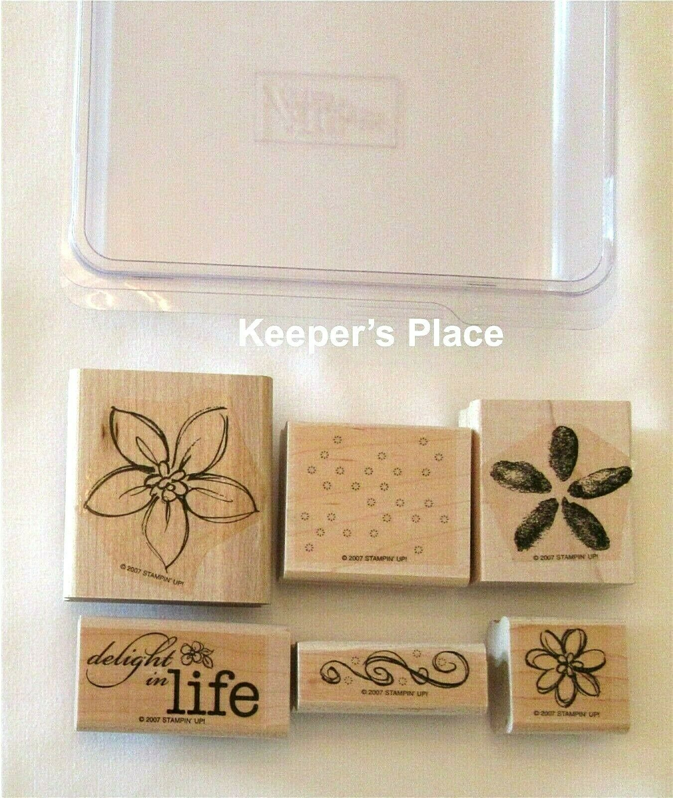 Set Of 6 Stampin Up DELIGHT IN LIFE Wood Mounted Stamps 2007 + Case