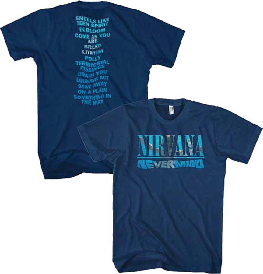 Nirvana-(Kurt Cobain)-Nevermind Album Play List Navy Blue T-shirt