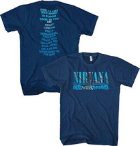 Nirvana-(Kurt Cobain)-Nevermind Album Play List Navy Blue T-shirt - $20.99