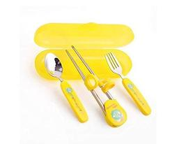 Panda Superstore Three-piece Children's tableware Fork&Spoon&Chopsticks(Yellow)