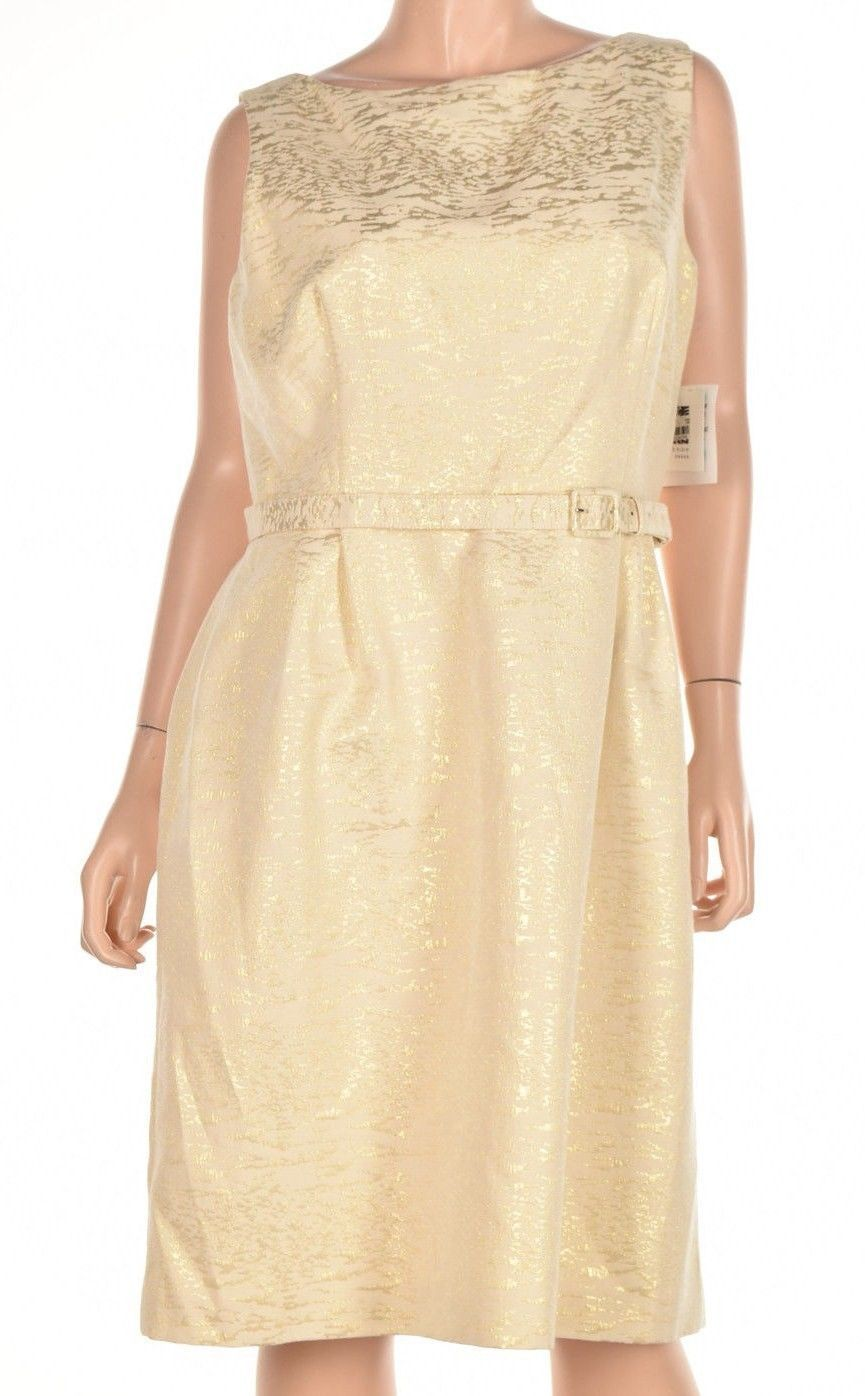 Anne Klein Women Belted Jacquard Fit Flare Gold Combo Dress Size 14 $139