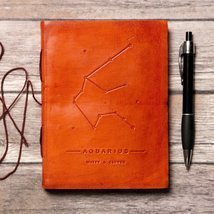 Aquarius Zodiac Handmade Leather Journal - $38.00