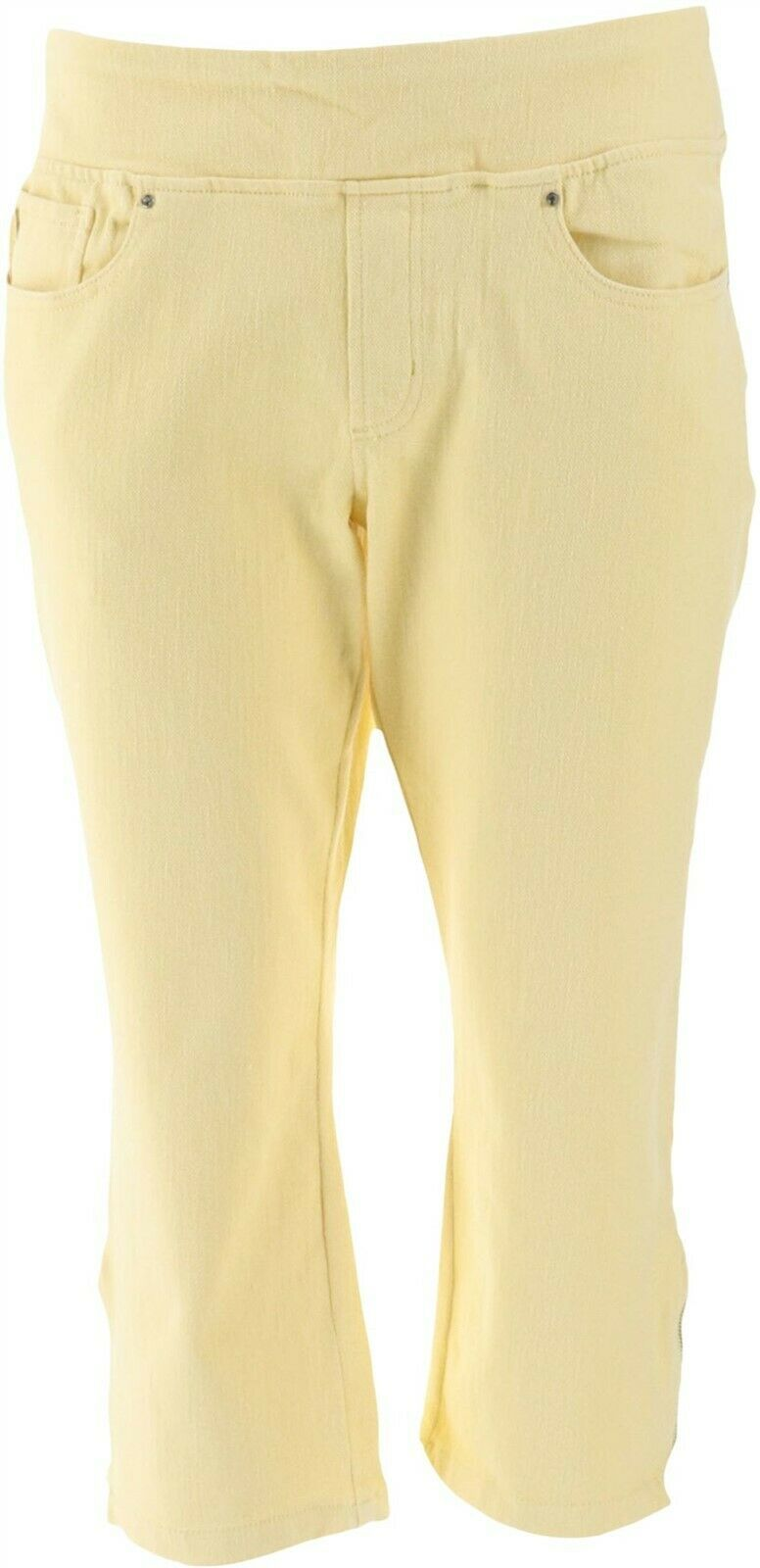 Primary image for Belle Kim Gravel Flexibelle Cropped Jeans Petite Buttercup 10P NEW A301516