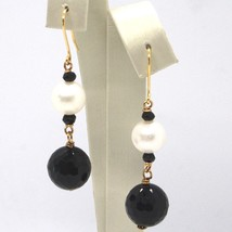 DROP EARRINGS YELLOW GOLD 18K, WHITE PEARLS, ONYX BLACK FACETED image 1