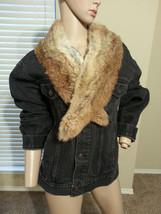 VTG Gap Black Denim Jean Jacket w/ DIY Attached Fox Fur Collar - $56.99